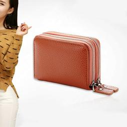 1pc Multi-functional Credit Card ID Holder Double Zipper Coi
