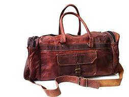 """20"""" Leather duffel bag for men gym cabin travel weekend carr"""