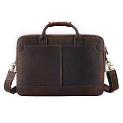 "Kattee XZ369CE-FBA Vintage Simple Look Real Leather 17"" Lapt"