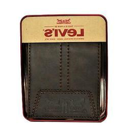 NEW- Men's Levi's Premium Leather Bifold Wallet. Credit Card