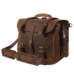 Texbo Men's Thick Cowhide Leather 16 Inch Laptop Shoulder Me
