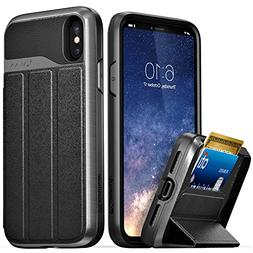 Vena iPhone Xs/X Wallet Case,  Flip Leather Cover Card Slot