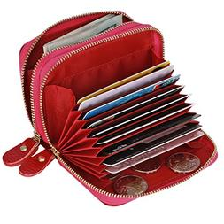 Accordion Wallet RFID Leather Card Wallet for Women Credit C