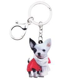 Acrylic Scarf Chihuahua Dog Keychain Ring Charm Jewelry For