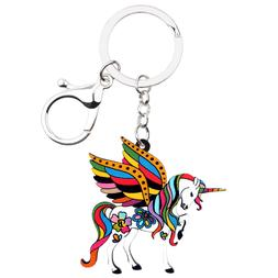 Acrylic Unicorn Horse Keychain Ring Wallet Charm Jewelry For