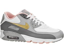 NIKE Youth Air Max 90 LTR GS Leather Metallic Gold Trainers