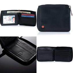 Alpine Swiss RFID Blocking Mens Leather Wallet Bifold Zip Ar