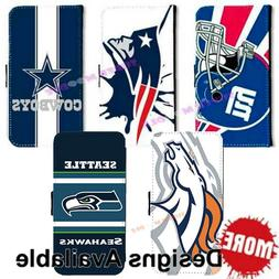 American Football Sports Team PU Leather Wallet Flip Stand C