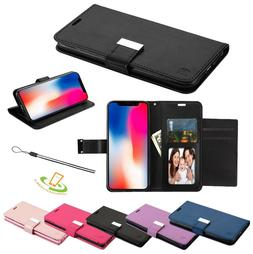 For Apple iPhone XR Leather Wallet Flip Dual Cards Holder Ph
