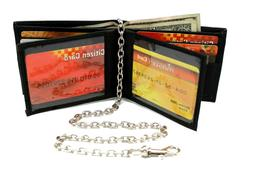 Biker Men's Leather Bi-fold Chain Wallet Center Flip Twin Wi