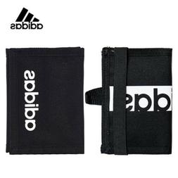 Adidas Black Bi-Fold Wallet Credit Card Case Zipper Coin Pur