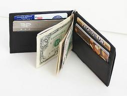 Black Genuine Leather Men's Bifold Metal Money Clip Front Po