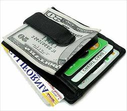 BLACK GENUINE LEATHER METAL MONEY CLIP MEN'S FRONT POCKET WA