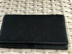 Coach Black Signature Leather Checkbook Cover Holder Wallet