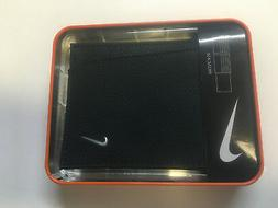 NIKE GOLF MEN'S BLACK TEXTURED LEATHER PASSCASE BILLFOLD WAL