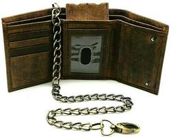 RFID Safe Rusty Brown 111 Men Hunter Leather TriFold Chain W