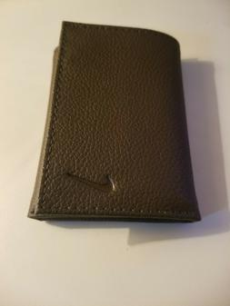 brand dark brown trifold leather wallet never