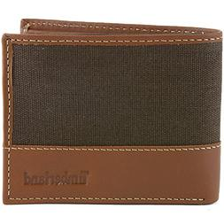 Timberland Men's Canvas Leather Wallet Bifold Dark Brown New