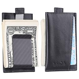 Kinzd Carbon Fiber Money Clip Wallet, Card Case, Secure RFID