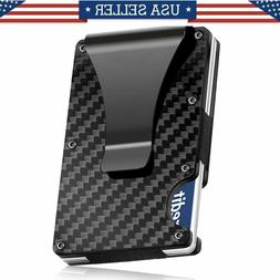 Carbon Fiber RFID Blocking Slim Money Clip Card Holder Metal