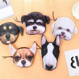 Cartoon dog small wallet with zipper for girls boys coins cr