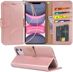 Arae Case For Iphone 11 Pu Leather Wallet Case Cover  With W