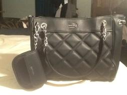 GUESS CHEERLEADER QUILTED SATCHEL BAG PURSE WITH MATCHING WA