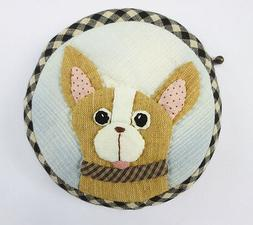 Chihuahua dog quilt applique fabric wallet pocket coin pouch