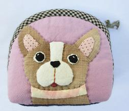 Chihuahua puppy dog applique fabric wallet pocket coin pouch