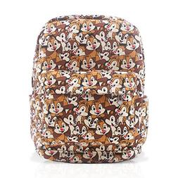 Finex Chip and Dale Brown Canvas Backpack with Laptop Storag