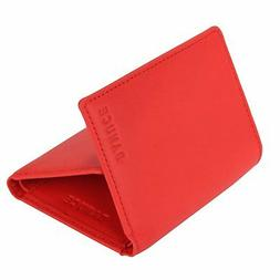 Banuce Colored Top Grain Genuine Leather Trifold Wallet for