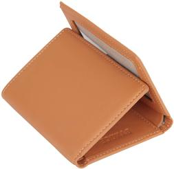 Banuce Colored Top Grain Leather Trifold Wallet for Women Sm