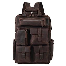 Texbo Full Grain Cowhide Leather Multi Pockets 16 Inch Lapto