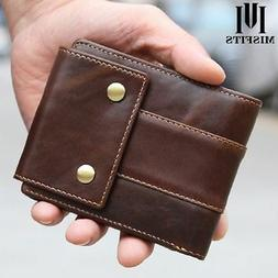 Cowhide Real Leather Men Short Coin Wallet Purse Trifold But