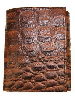 AG Wallets Mens Crocodile Embossed Credit Card ID Leather Br