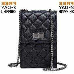Crossbody Cell Phone Purse for Women Quilted Leather Bag Wit