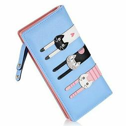 Cute Wallet For Teen Girls Money Bill Organizer Sky Blue Cat