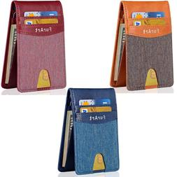 Denim Bifold Minimalist Leather Wallet Money Clip Pocket Cre