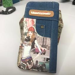 denim wallet girl in hat brand new