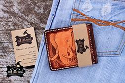 Elephant Leather Money Clip Wallet Hand Tooled Leather Walle
