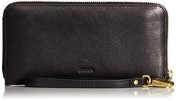 Fossil Emma RFID Large Zip Wallet, Charcoal Black
