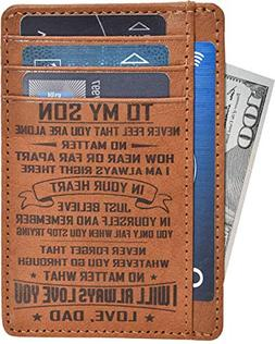 Engraved Father Son Gift Wallet - Personalized Anniversary B