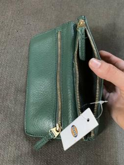 Fossil Erin Flap Clutch Dark Green Leather Multi Pocket Wall