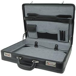 Alpine Swiss Expandable Leather Attache Briefcase Dual Combi