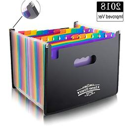 Expanding Files Folders, 24 Pockets Multi-Color Accordion A4