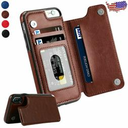 F iPhone 6 7 8 Plus XS Max XR Leather Magnetic Flip Wallet C