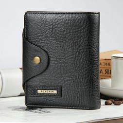 Fashion Men's Leather Bifold ID Card Holder Wallet Purse wit