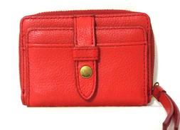 Fossil Fiona Small Leather Zip Wallet Poppy Red