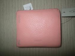 Fossil Pink Coral Cloud RFID Leather Small Bifold Wallet NWT