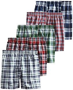 Hanes Men's 5-Pack Tartan Boxer with Inside Exposed Waistban